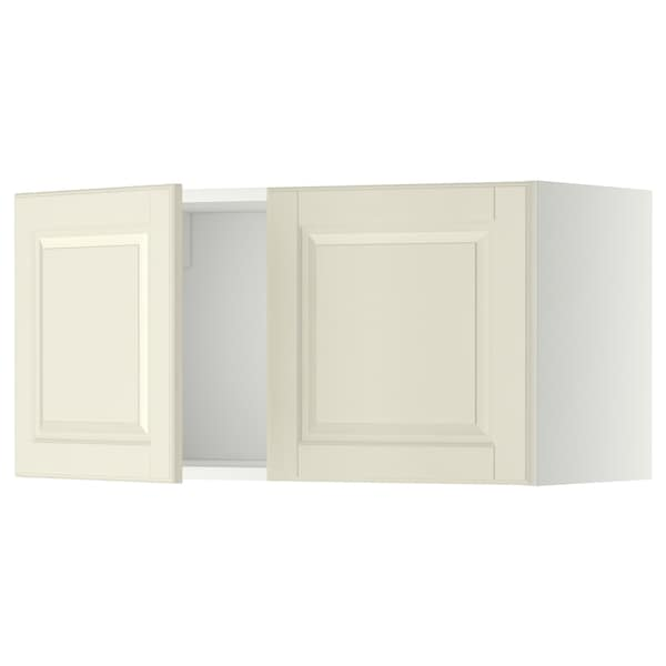 METOD Armário parede c/2portas, branco/Bodbyn branco-bege, 80x40 cm