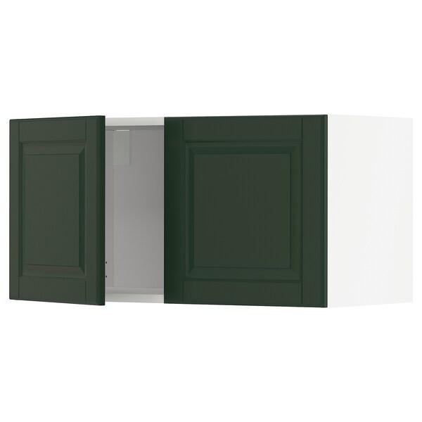 METOD Armário parede c/2portas, branco/Bodbyn verde escuro, 80x40 cm
