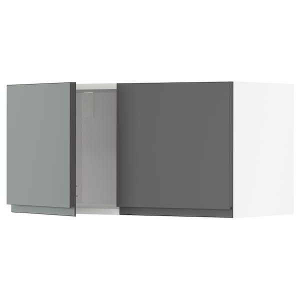 METOD Armário parede c/2portas, branco/Voxtorp cinz esc, 80x40 cm