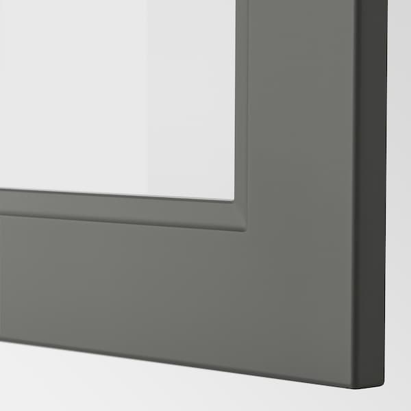 METOD Armário parede c/2portas vidro, branco/Axstad cinz esc, 80x40 cm