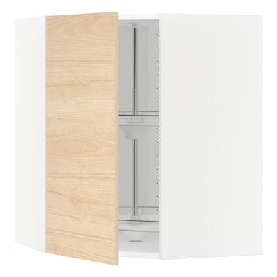 METOD Armário parede c/pratel giratória, branco/Askersund efeito freixo claro, 68x80 cm