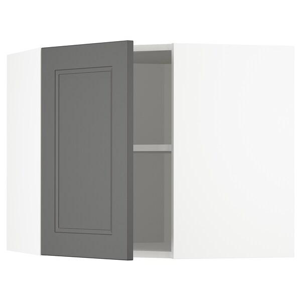 METOD Armário parede canto c/prateleiras, branco/Axstad cinz esc, 68x60 cm