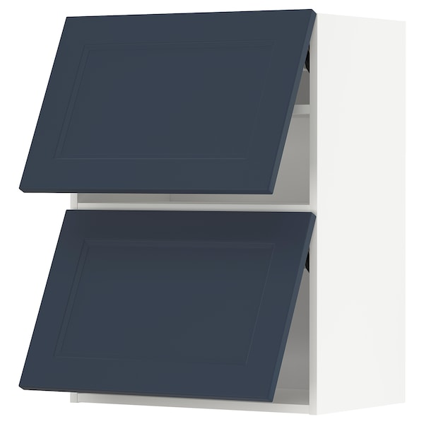 METOD Armário parede horiz c/2portas, branco Axstad/mate azul, 60x80 cm