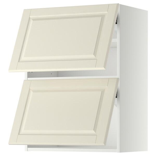 METOD Armário parede horiz c/2portas, branco/Bodbyn branco-bege, 60x80 cm