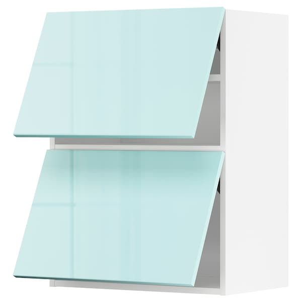 METOD Armário parede horiz c/2portas, branco Järsta/brilh turquesa claro, 60x80 cm