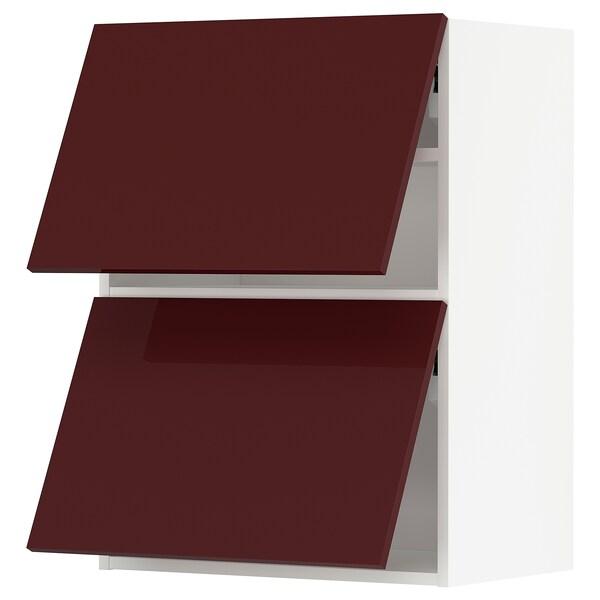 METOD Armário parede horiz c/2portas, branco Kallarp/brilh vermelho acastanhado escuro, 60x80 cm