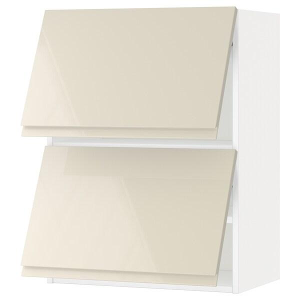 METOD Armário parede horiz c/2portas, branco/Voxtorp bege claro brilhante, 60x80 cm