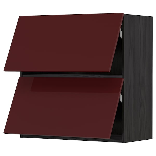 METOD Armário parede horiz c/2portas, preto Kallarp/brilh vermelho acastanhado escuro, 80x80 cm