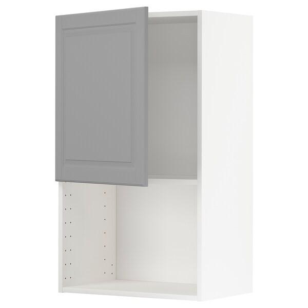 METOD Armário parede p/forno micro-ondas, branco/Bodbyn cinz, 60x100 cm