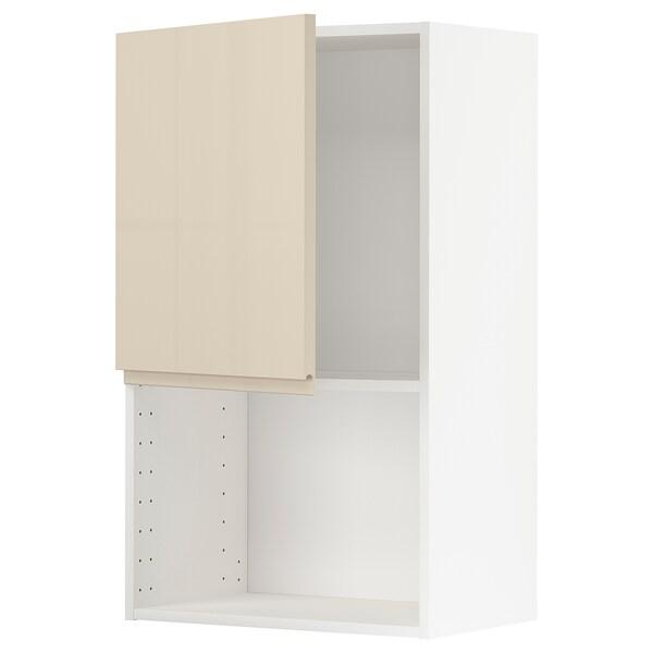 METOD Armário parede p/forno micro-ondas, branco/Voxtorp bege claro brilhante, 60x100 cm