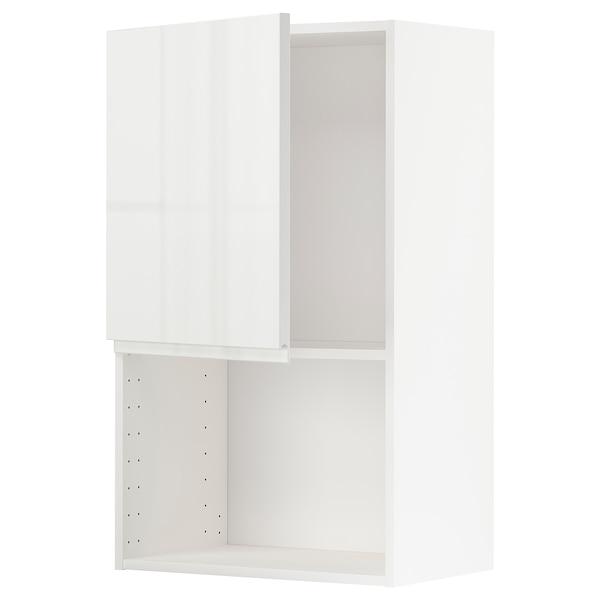 METOD Armário parede p/forno micro-ondas, branco/Voxtorp branco/brilh, 60x100 cm