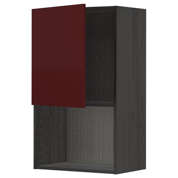 METOD Armário parede p/forno micro-ondas, preto Kallarp/brilh vermelho acastanhado escuro, 60x100 cm