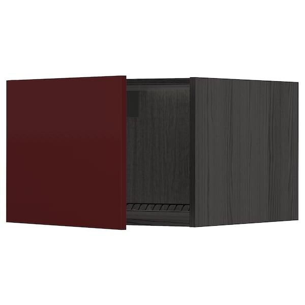 METOD Armário sup p/frigorífic/congelado, preto Kallarp/brilh vermelho acastanhado escuro, 60x40 cm