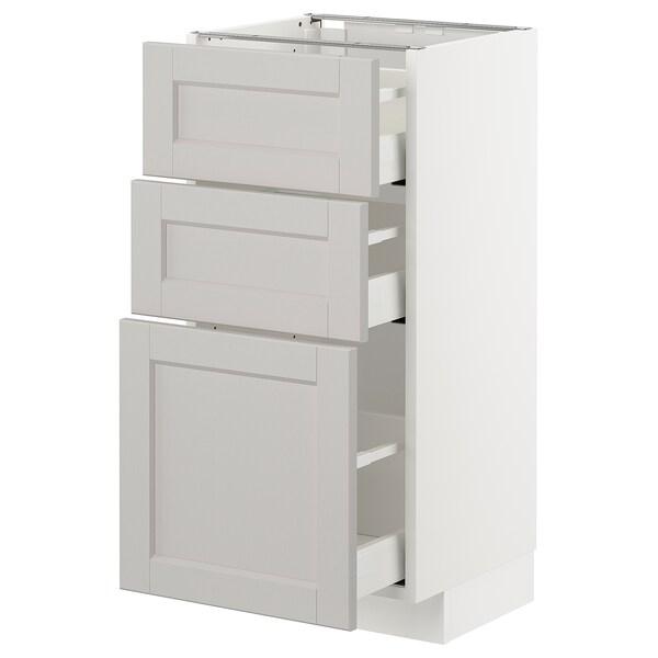 METOD armário baixo c/3gavetas branco/Lerhyttan cinz clr 40.0 cm 39.5 cm 88.0 cm 37.0 cm 80.0 cm