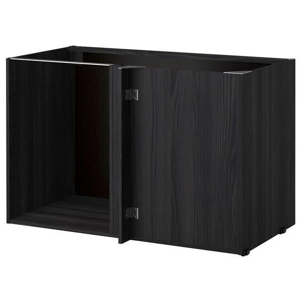 METOD estrutura de armário baixo de canto efeito madeira preto 66.5 cm 67.5 cm 127.5 cm 60.0 cm 67.5 cm 80.0 cm