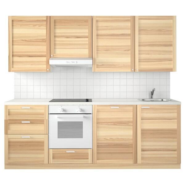 METOD Cozinha, branco Maximera/Torhamn freixo, 240x60x228 cm