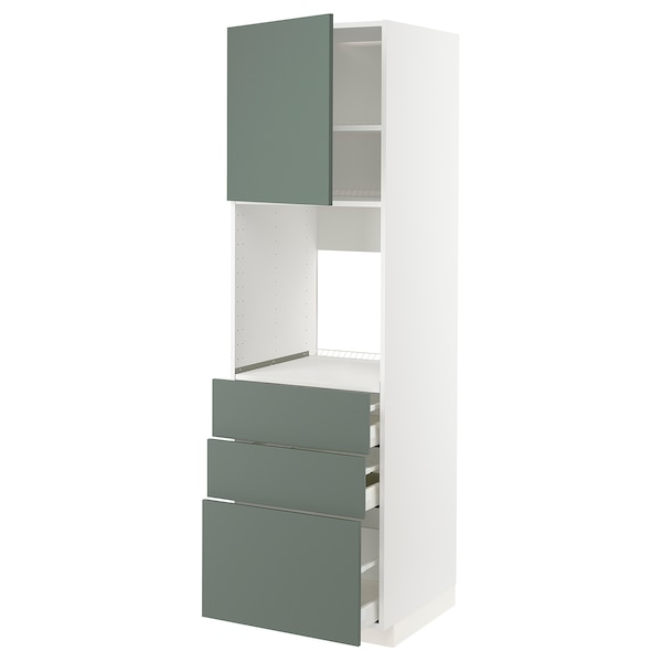 METOD / MAXIMERA Ar alt p/forno c/pt/3gv, branco/Bodarp verde acinzentado, 60x60x200 cm