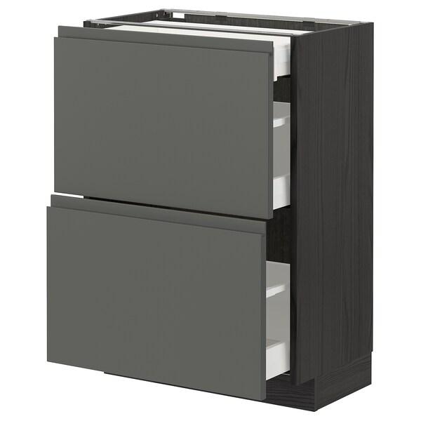 METOD / MAXIMERA Ar bx c/2fr/3gv, preto/Voxtorp cinz esc, 60x37 cm