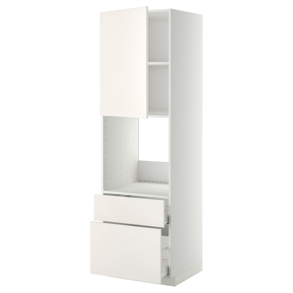METOD / MAXIMERA Arm alto p/frn+port/2gavs, branco/Veddinge branco, 60x60x200 cm
