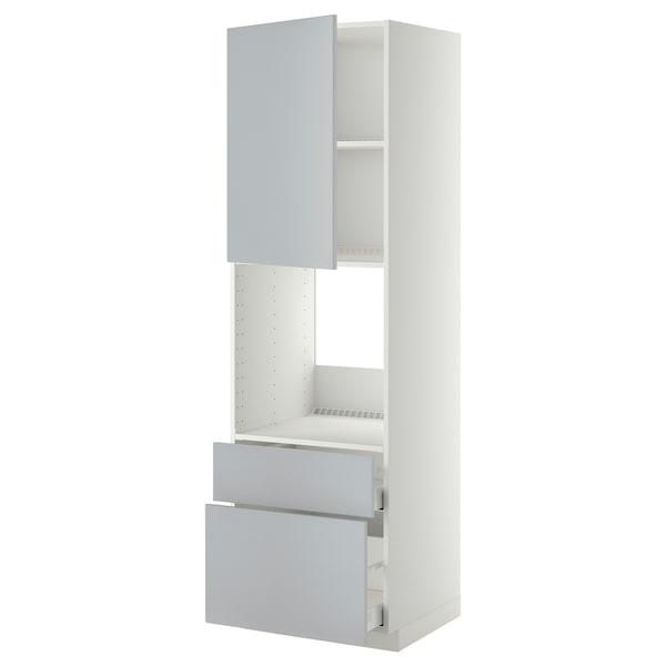 METOD / MAXIMERA Arm alto p/frn+port/2gavs, branco/Veddinge cinz, 60x60x200 cm