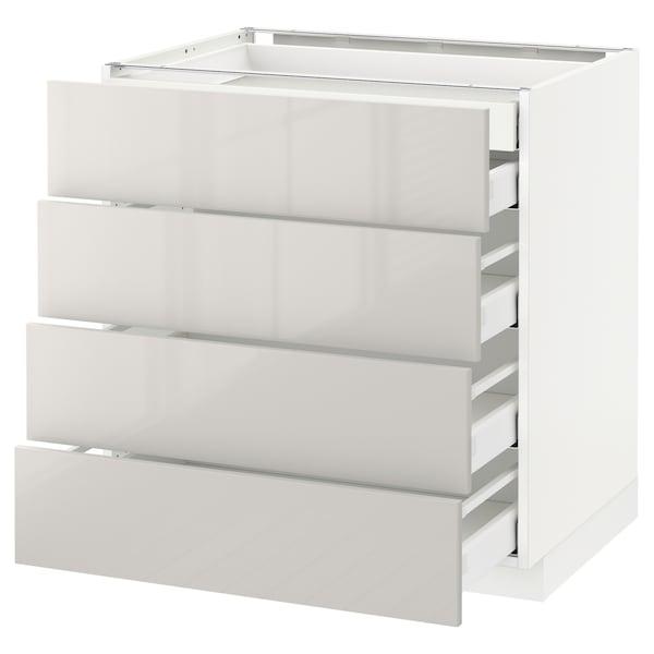 METOD / MAXIMERA Arm bx 4 frent/2 gv bx/3 gv méd, branco/Ringhult cinz clr, 80x60 cm