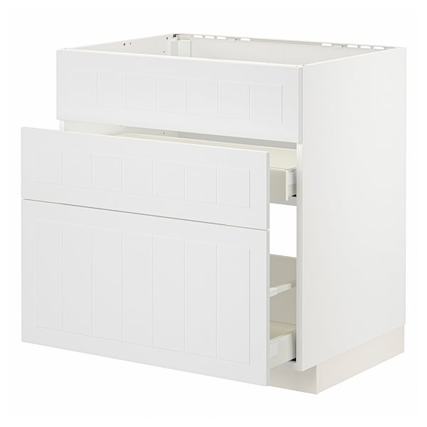METOD / MAXIMERA Arm bx p/lava-loiça+3 fren/2gv, branco/Stensund branco, 80x60 cm