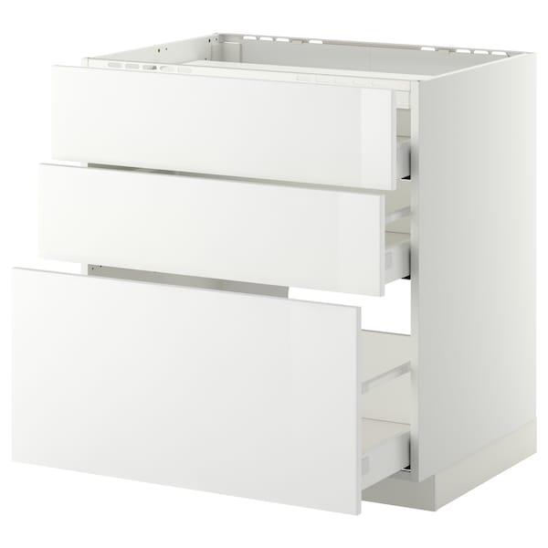 METOD / MAXIMERA Arm bx p/placa/3 frentes/3 gavetas, branco/Ringhult branco, 80x60 cm