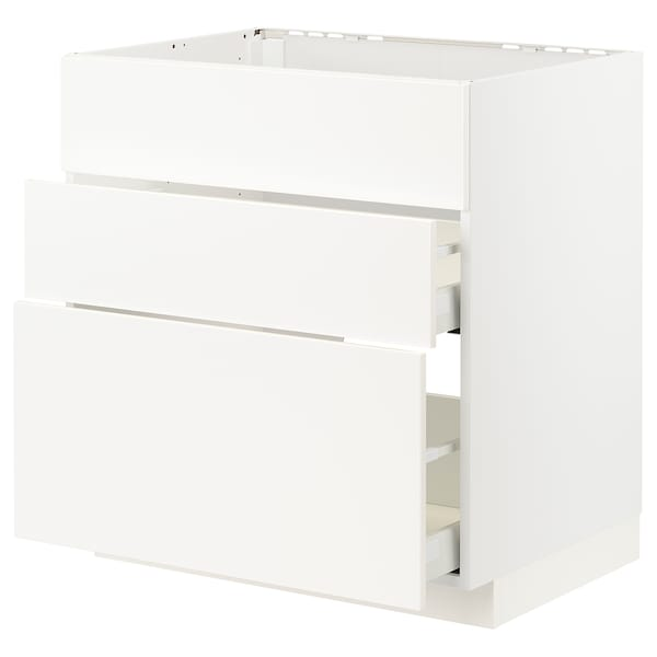 METOD / MAXIMERA Arm bx p/placa/exaustor int c/gav, branco/Veddinge branco, 80x60 cm