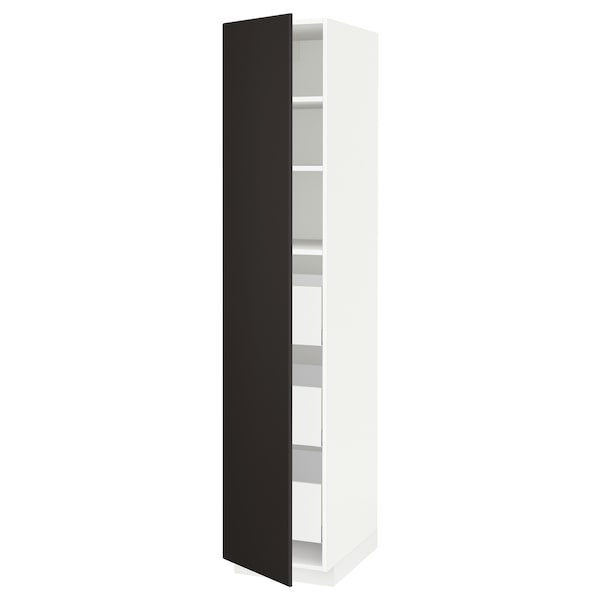 METOD / MAXIMERA Armário alto c/gavetas, branco/Kungsbacka antracite, 40x60x200 cm