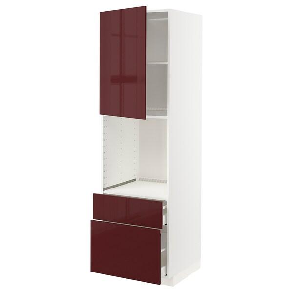 METOD / MAXIMERA Armário alto p/forno+porta/2gavetas, branco Kallarp/brilh vermelho acastanhado escuro, 60x60x200 cm