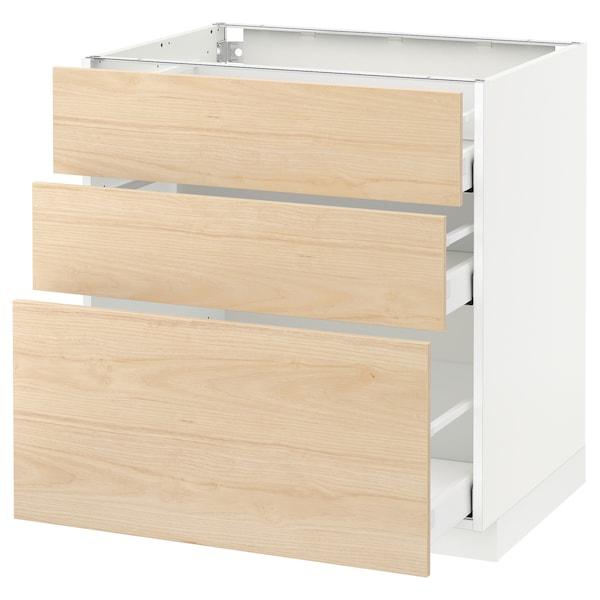 METOD / MAXIMERA Armário baixo c/3gavetas, branco/Askersund efeito freixo claro, 80x60 cm
