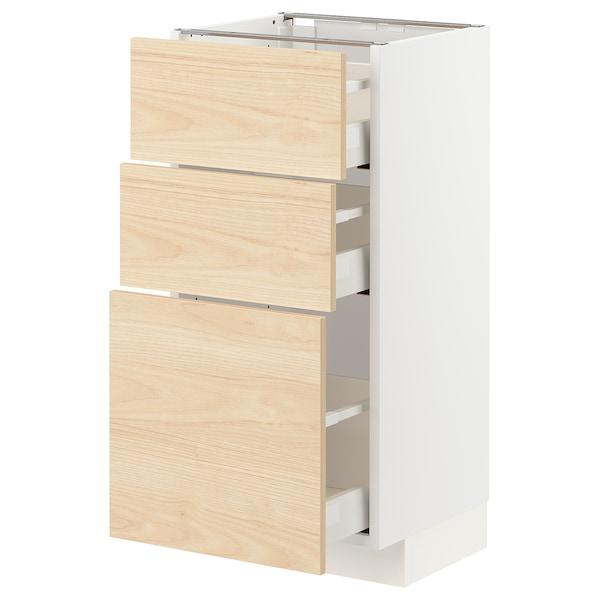 METOD / MAXIMERA Armário baixo c/3gavetas, branco/Askersund efeito freixo claro, 40x37 cm