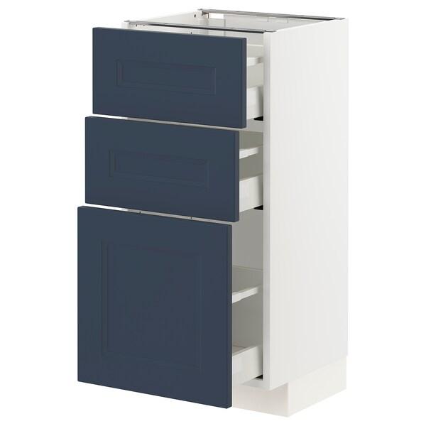 METOD / MAXIMERA Armário baixo c/3gavetas, branco Axstad/mate azul, 40x37 cm