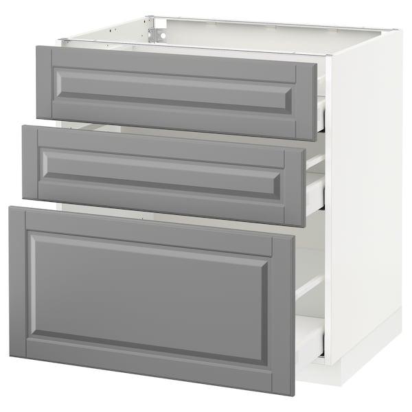 METOD / MAXIMERA Armário baixo c/3gavetas, branco/Bodbyn cinz, 80x60 cm
