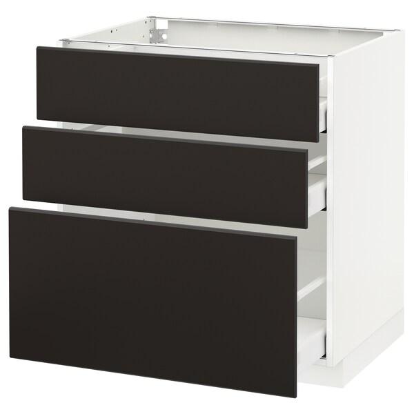 METOD / MAXIMERA Armário baixo c/3gavetas, branco/Kungsbacka antracite, 80x60 cm