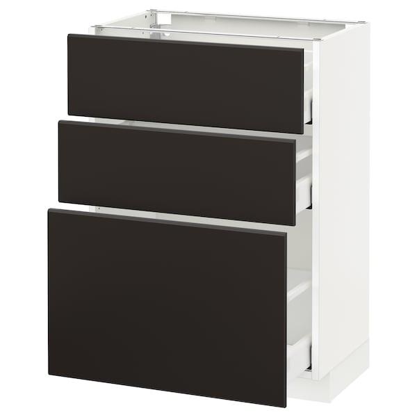 METOD / MAXIMERA Armário baixo c/3gavetas, branco/Kungsbacka antracite, 60x37 cm