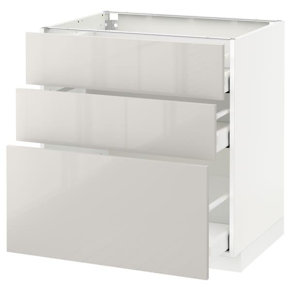 METOD / MAXIMERA Armário baixo c/3gavetas, branco/Ringhult cinz clr, 80x60 cm