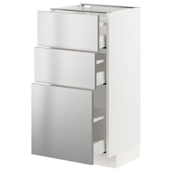 METOD / MAXIMERA Armário baixo c/3gavetas, branco/Vårsta aço inoxidável, 40x37 cm