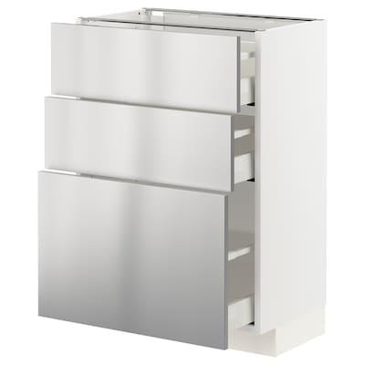METOD / MAXIMERA Armário baixo c/3gavetas, branco/Vårsta aço inoxidável, 60x37 cm