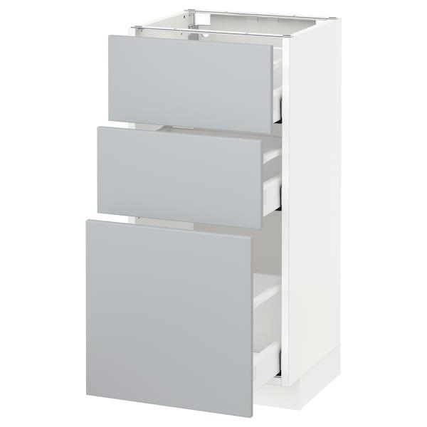 METOD / MAXIMERA Armário baixo c/3gavetas, branco/Veddinge cinz, 40x37 cm
