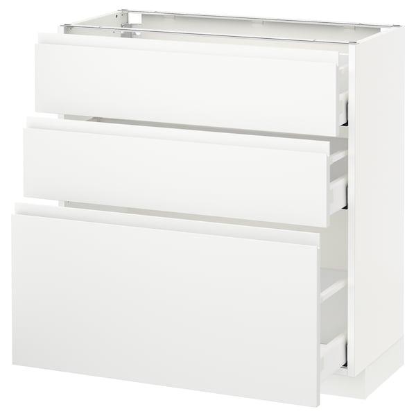 METOD / MAXIMERA Armário baixo c/3gavetas, branco/Voxtorp branco mate, 80x37 cm