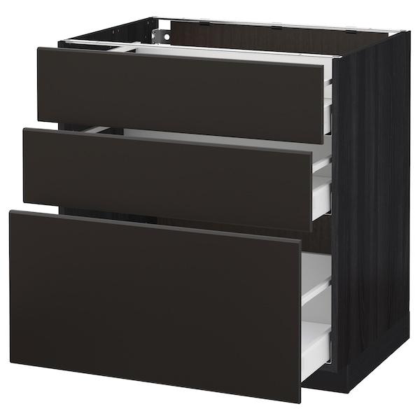 METOD / MAXIMERA Armário baixo c/3gavetas, preto/Kungsbacka antracite, 80x60 cm