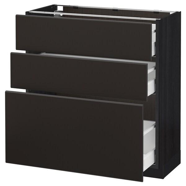 METOD / MAXIMERA Armário baixo c/3gavetas, preto/Kungsbacka antracite, 80x37 cm