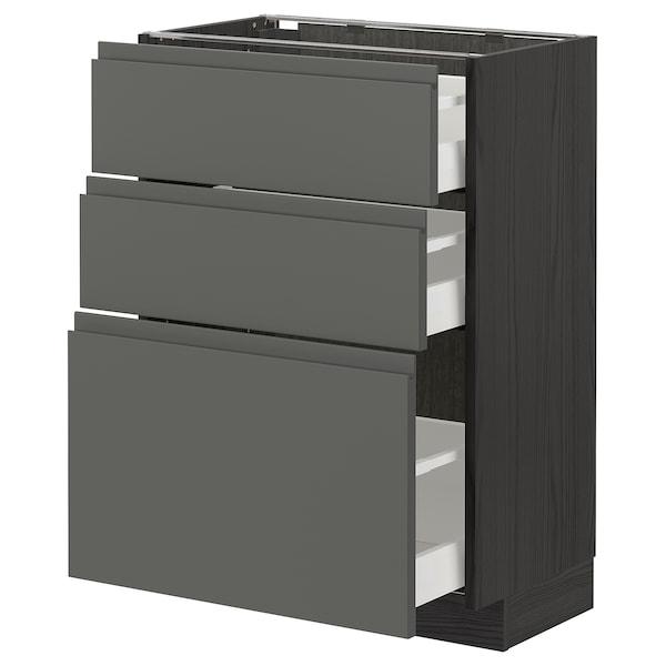 METOD / MAXIMERA Armário baixo c/3gavetas, preto/Voxtorp cinz esc, 60x37 cm