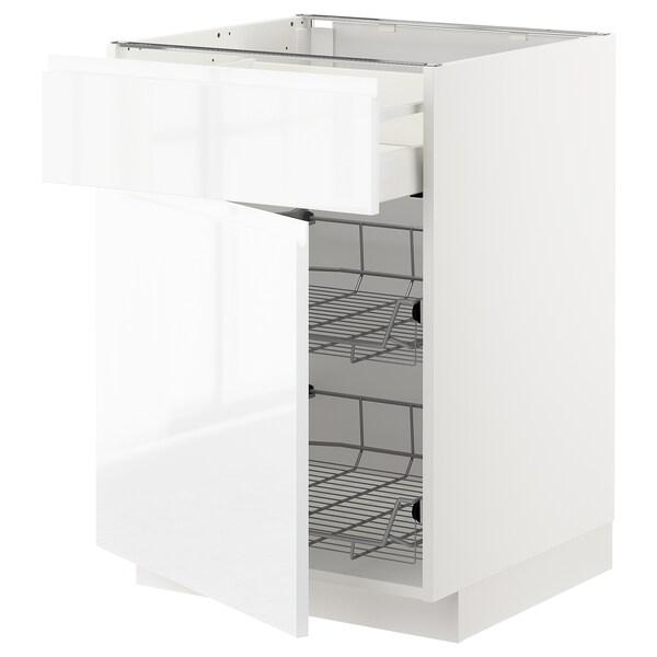 METOD / MAXIMERA Armário baixo c/cest metá/gave/port, branco/Voxtorp branco/brilh, 60x60 cm