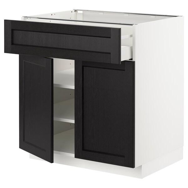 METOD / MAXIMERA Armário baixo c/gaveta/2 portas, branco/Lerhyttan velatura preta, 80x60 cm