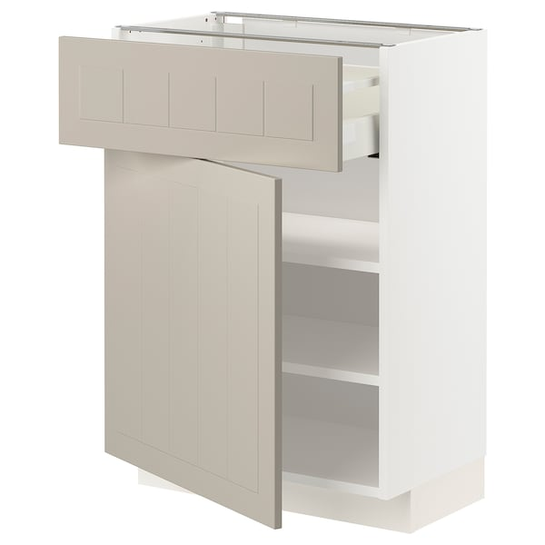 METOD / MAXIMERA Armário baixo c/gaveta/porta, branco/Stensund bege, 60x37 cm