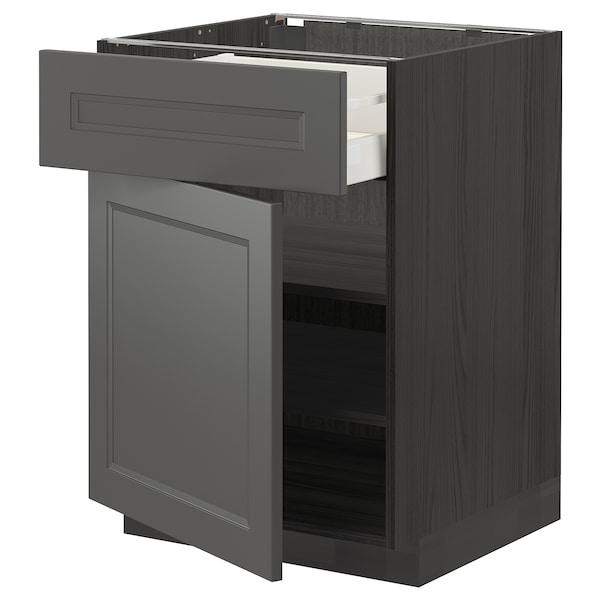 METOD / MAXIMERA Armário baixo c/gaveta/porta, preto/Axstad cinz esc, 60x60 cm