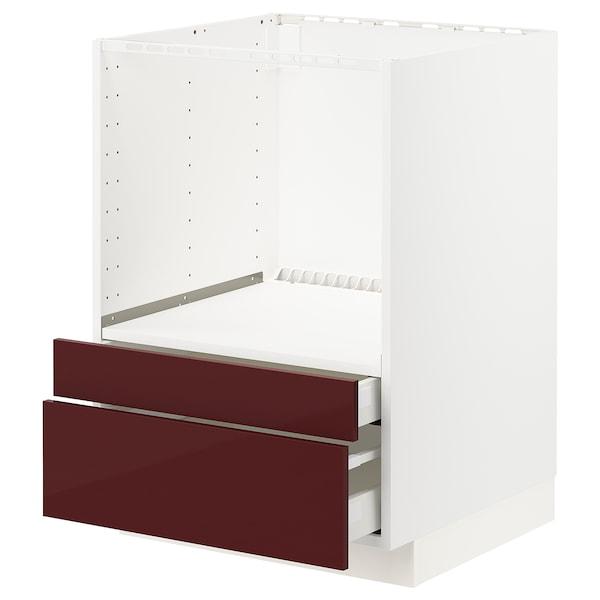 METOD / MAXIMERA armário baixo p/combi micro/gavetas branco Kallarp/brilh vermelho acastanhado escuro 60.0 cm 61.6 cm 88.0 cm 60.0 cm 80.0 cm