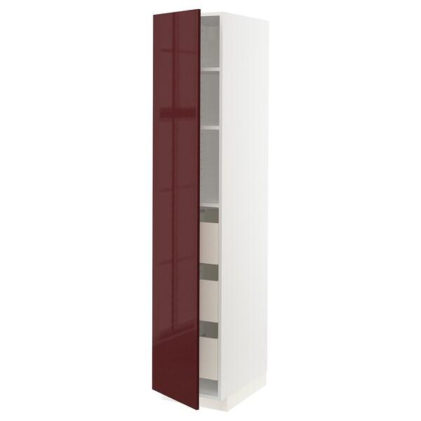 METOD / MAXIMERA armário alto c/gavetas branco Kallarp/brilh vermelho acastanhado escuro 40.0 cm 61.6 cm 208.0 cm 60.0 cm 200.0 cm